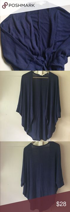 """Lightweight Dolman Sleeve Cardigan Dark blue and black, but mostly blue (see last image for close up of fabric). Short dolman sleeves come to about elbow length. Open cardigan, no buttons or closures. Loose, flowy fit and very lightweight. Approx 25-26"""" long in front from top of shoulder to hem; about 28"""" long in back. 78% Rayon / 19% Polyester / 3% Spandex. Worn a few times, in great condition. Painted Threads Sweaters Cardigans"""