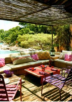 Pergola Inspiration - Outdoor Oasis - Backyard Patio Inspo - Wood Deck - Landscape - Outdoor Living Inspiration - Goals - 54 Cool and relaxing outdoor living spaces to welcome summer Outdoor Areas, Outdoor Rooms, Outdoor Living, Outdoor Furniture Sets, Outdoor Lounge, Outdoor Seating, Terrasse Design, Gazebos, Outside Living