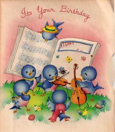 Vintage Birthday Card Baby Bluebirds Band Musical Instruments