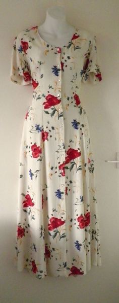 VTG 90s Retro 40s ST MICHAEL Poppy Print Long Midi Maxi Summer Day Tea Dress 12  18.00