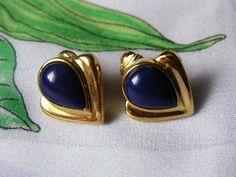 Vintage Blue Acrylic Gold Tone Clip On by dazzledbyvintage on Etsy
