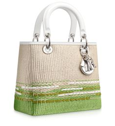 LADY DIOR - White and green plaited straw 'Lady Dior' bag