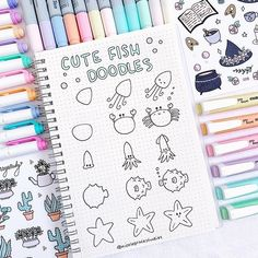 Cute fish doodles for your bullet journal or for your sketchbook 🐳! Hope you guys like these new 3 step doodle tutorial 😍 They're perfect… Easy Doodles Drawings, Easy Doodle Art, Doodle Art Drawing, Simple Doodles, Cute Doodles, Doodle Doodle, How To Doodle, Doodle Art Letters, Doodle Art Journals