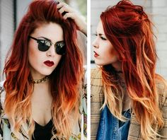 Burnt Orange Hair Dye Ideas About Fire Hair On Beautiful Redhead Lady Tr Burnt Orange Hair Color, Orange Hair Dye, Orange Yellow, Red Hair Orange Tips, Blonde Hair Red Tips, Red Hair Tan Skin, Red Hair Dark Roots, Red Hair With Blonde Highlights, Fire Ombre Hair