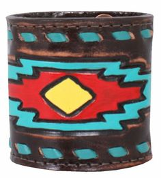 Leather Cuff with Arrow Tooled Design