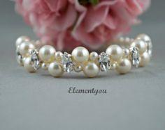 Brazalete de perlas de novia boda joyas novia por WeddinGlam