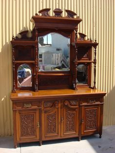 This is a beautiful hand carved English antique Victorian sideboard that is hand made out of solid walnut and dates from Victorian Style Furniture, Antique Furniture, Home Furniture, Antique Couch, Victorian Decor, Victorian Era, Elegant Home Decor, Elegant Homes, Antique Cabinets