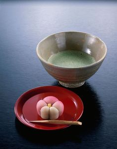 wagashi greentea/ Traditional Japanese tea with Japanese sweets
