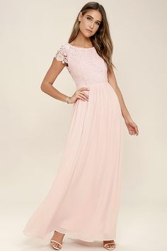 4c7d44aafa7 Celebrate your timeless beauty in The Greatest Blush Pink Lace Maxi Dress!  Stunning floral lace