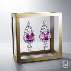 A one-of-a-kind design for the ultimate jewelry connoisseur. Cushion-Cut Pink Sapphire Earrings from the House of #HarryWinston. #HighJewelry