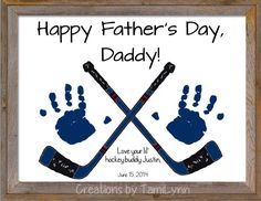 Hockey Sticks Handprint - Personalized Baby/Child's Room, Father's Day, Birthday or Grandparent Gift
