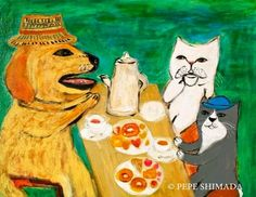 """Forest Tea Time"" <=> Acrylic on Canvas Artist Pepe Shimada Copyright © PEPE SHIMADA All Rights Reserved"