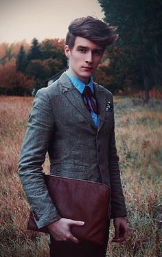 I mainly pinned this b/c of his clothing choice. It's nice to see boys/men dress up