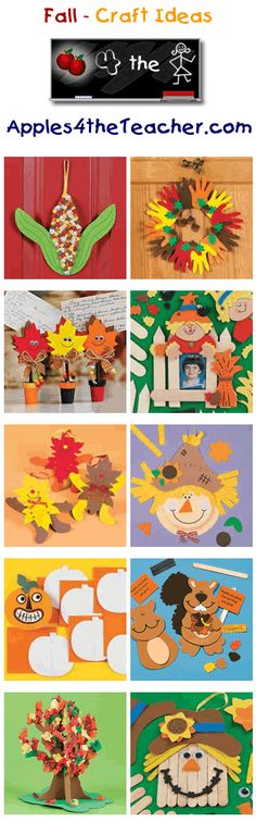 Fun Fall crafts for kids - Fall craft ideas for children. I can use these for my door Daycare Crafts, Classroom Crafts, Toddler Crafts, Preschool Crafts, Fun Crafts, Fall Preschool, Autumn Crafts, Fall Crafts For Kids, Thanksgiving Crafts
