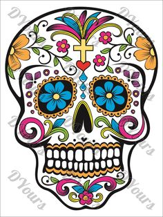 Sugar Skull Fully Coloured Mexican Day of the Dead Skull Vector Model - svg cdr ai pdf dxf files Download Files for Laser Cutting Printing by DYours on Etsy https://www.etsy.com/listing/506550737/sugar-skull-fully-coloured-mexican-day
