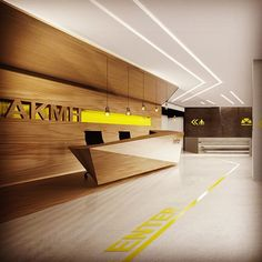 Yellow and White Reception Gym Interior, Lobby Interior, Office Interior Design, Lobby Reception, Reception Counter, Reception Areas, Office Entrance, Office Lobby, Corporate Interiors