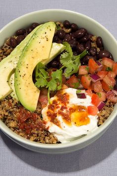 5 Affordable Dinners Anyone Can Make #refinery29  http://www.refinery29.uk/grain-bowl-recipes#slide-6  Quinoa Burrito Bowl With Chipotle Lime SauceServes 1Ingredients1/2 cup dry quinoa1/4 cup green salsa3/4 cup vegetable or chicken broth1 tbsp fresh or dried chopped cilantro1/2 cup drained and rinsed black beans1/2 of an avocado, sliced 2 tbsp chunky pico salsa2 tbsp nonfat Greek yogurtFor chipotle lime vi...