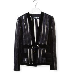 Balmain Transparent Blazer (165,380 PHP) ❤ liked on Polyvore featuring outerwear, jackets, blazers, black, pocket jacket, stripe blazer, balmain jacket, balmain blazer and balmain