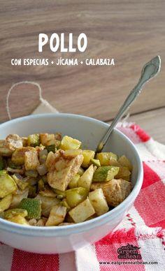 POLLO CON ESPECIAS, JÍCAMA Y CALABAZA Paleo Recipes, Mexican Food Recipes, Ethnic Recipes, Jicama Recipe, Spanish Food, Spanish Recipes, Common Spices, Dieta Paleo, Healthy Eating