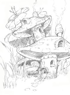 fairy and mushrooms art sketches - Google Search