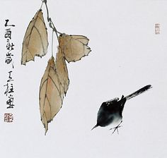 Sumi-e bird by Qin Tianzhu Japanese Ink Painting, Sumi E Painting, Japanese Watercolor, Japan Painting, Japanese Drawings, Chinese Painting, Watercolor And Ink, Chinese Art, Chinese Brush