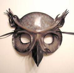 Great Horned Owl Leather Mask in shades of white grey by teonova