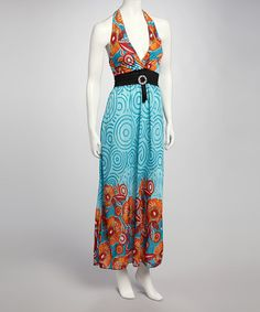 Take a look at this Aqua & Orange Halter Maxi Dress by Earth Song on #zulily today!