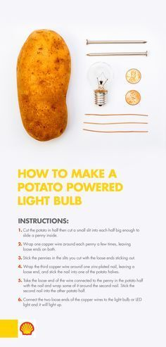 Need a light? Use potato power! With this science experiment for kids, learn how… Need a light? Use potato power! With this science experiment for kids, learn how chemical reactions take place between two dissimilar metals and how to create voltage. Preschool Science, Physical Science, Teaching Science, Science For Kids, Science Fun, Summer Science, Expirements For Kids, Science Week, Science Projects For Kids