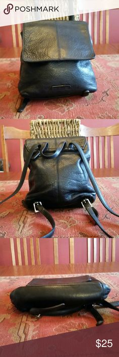 LIZ CLAIBORNE BACKPACK Small black Pebble leather Backpack,exterior leather excellent condition, interior does show wear Liz Claiborne Bags Backpacks