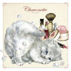 """«Chavonette», par Séverine Pineaux. -- """"C'est dans les salles de bain, les salons de beauté et le rayon cosmétique des grands magasins que l'on peut rencontrer Chavonette. Son vernis à griffe est toujours parfaitement assorti à son rouge à truffe. Chavonette est vraiment une ch'tarlette !""""."""