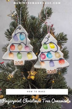 christmas crafts for kids to make Make fingerprint christmas trees using our air dry clay as an alternative to Salt dough! This kids christmas craft is so fun and easy to make and the Christmas ornaments look fantastic hanging on the tree. Kids Christmas Ornaments, Preschool Christmas, How To Make Ornaments, Diy Christmas Gifts, Christmas Activities, Christmas Clay, Homemade Christmas Tree Decorations, Christmas Gift From Baby, Christmas Crafts For Kids To Make At School