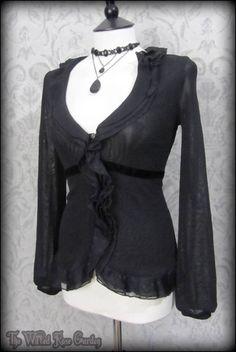 Elegant Gothic Black Sheer Net Ruffle Velvet Trim Top 12 Victorian Vintage Vamp   THE WILTED ROSE GARDEN