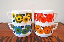 4 Vintage Retro Floral 60s Milk Glass Arcopal Coffee Tea Cups Flower Power NEED THESE NOWWWWWWWWWWWW
