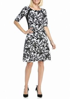 Rabbit Rabbit Rabbit BlackWhite Floral Printed Fit and Flare Dress