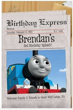 Thomas Birthday door poster for Hotel room