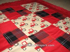 My favorite type of blanket for my own baby! Soft minky back, beautiful patchwork quilt top, quilted for durability and appearance. Can be personalized with name, monogrammed letter, or other details (e.g. babys birth date, weight). Over 50 thread colors to choose from for personalized embroidery. Please contact me to see more monogram font examples or to discuss personalized blanket options. ***Personalized embroidery will be done on the lower right block of 4 red/plaid squares unless you…