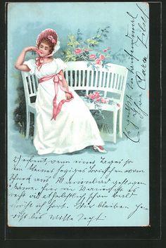 old postcard: Lithographie Frau mit Hut sitzt auf einer Bank, Rosen