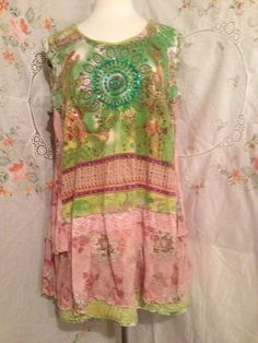 LARGE Reversible Long Top/Apron Upcycled by FlowerChildOriginal