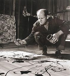 "Jackson Pollock creating drip painting, Long Island by Martha Holmes- "".several feet behind it hangs a Jackson Pollack drip painting. I've never seen a Pollock anywhere but in a museum, and I'm stunned. Work of Art (Kindle Locations Willem De Kooning, Action Painting, Drip Painting, Painting Canvas, Abstract Paintings, Abstract Art, Abstract Styles, Jackson Pollock, Henri Matisse"