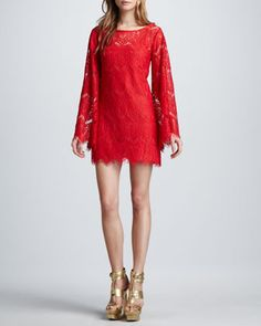 Stassi Lace Bell-Sleeve Dress by Alexis at Neiman Marcus.