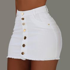 OFF Jeans Skirts Buttons High-Waist Mini Fashion Women Summer Strench All-Matching Denim Trend Fashion, Teen Fashion Outfits, Girl Outfits, Summer Outfits, Fashion Skirts, Women's Fashion, Bodycon Fashion, Fashion Women, Cute Casual Outfits