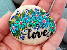 turquoise wildflowers / painted rocks / painted by LoveFromCapeCod