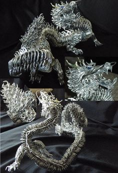 Fantasy Soda Can Creations This Dragon is Made Out of Recycled Pop Cans -- amazing! Soda Tab Crafts, Bottle Cap Crafts, Aluminum Can Crafts, Metal Crafts, Aluminum Cans, Tape Crafts, Pop Can Crafts, Pop Can Tabs, Dragons
