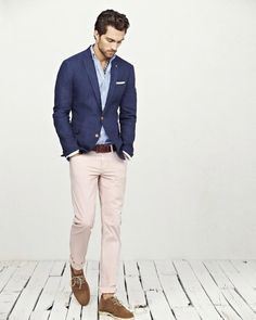 Casual Chic - #men #outfit #beigepant #bluejacket
