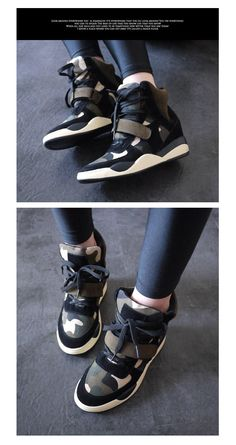 Panel Hidden Wedge High-Top Sneakers - SV Footwear   YESSTYLE