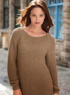 Ravelry: Loose Sweater with Boat Neck pattern by Bergère de France Crochet Blouse, Knit Crochet, Ladies Cardigan Knitting Patterns, Knit Basket, Angora, Knitting Wool, Loose Sweater, Neck Pattern, Garter Stitch