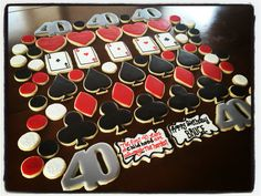 Card poker casino themed decorated cookies W WW.Facebook.com/cocossugarshack