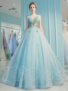 Classy Prom Dresses, Blue v neck tulle long prom dress, blue evening dress Prom Dresses Long Elegant Bridesmaid Dresses, Blue Wedding Dresses, Bridal Dresses, Pageant Dresses For Teens, Prom Dress With Train, Dress Prom, Blue Evening Dresses, Ball Gowns Prom, Prom Party