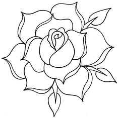 Images For > Traditional Rose Line Drawing
