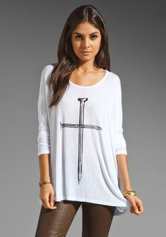 LAUREN MOSHI Tylie Nail Cross Draped Tee in White at Revolve Clothing - Free Shipping!